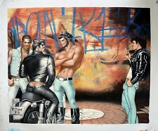 PEINTURE A L'HUILE INSPIREE DE TOM OF FINLAND GAY CUIR MOTARD BAR SAUNA COMMERCE