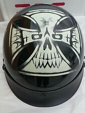Iron Cross skull Motorcycle Half Helmet Traditional DOT New (Medium large or xl)