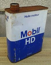 Ancien bidon d'huile MOBIL HD, vide déco de garage vintage années 50, old car