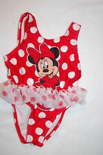 Baby Girls Swimsuit MINNIE MOUSE One Pc RED WHITE POLKA DOTS Tulle Skirt 3-6 MO