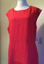 ANNE KLEIN  Swing Drop Waist Textured Sleeveless Fit And Flare Dress Red 16