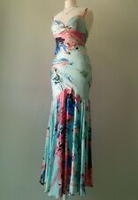 Watercolor CACHE gown, SIZE 4 100% Silk. Homecoming Prom. Pink, aqua