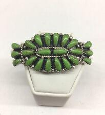 Native American Navajo Indian Sterling Silver Gaspeite Cluster Cuff Bracelet