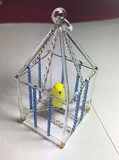 VINTAGE anni 1960 MURANO ART GLASS mano soffiato Pappagallino Uccellino in gabbia Ornamento