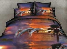 3D Sale Queen Size Home Duvet Quilt Cover Sunset Dolphin Cruise L