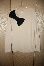 Kate Spade Ivory Black RAGLAN Pointelle Big Shoulder Bow Tunic Sweater L