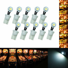 10x #555 T10 1 SMD LED Folded Pinball Machine Light Bulb White AC/ DC 6.3V