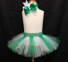 Baby Girl Christmas Tutu Skirt Green Bow Headband Photo Prop Costume Outfit