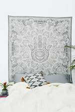 Fatima Hand Hamsa Wall Hanging Twin Tapestries Bedspread Throw Ethnic Decor_TYD