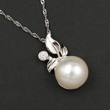 11 mm White Freshwater Pearl CZ 925 Sterling Silver Pendant Chain Necklace 00279