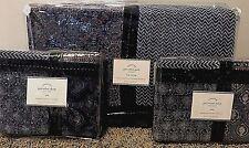Pottery Barn Jori Velvet KING quilt 2 KING shams blue patchwork