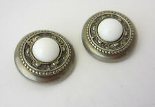 Ellen Designs White Milk Glass Filigree Silver Tone Clip On Earrings Vintage