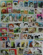 CATS very nice worldwide stamp collection, 100 different stamps (lot#dp)