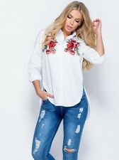 Womens Embroidered patch shirt Blouse Long sleeve White Flower Rose size 12