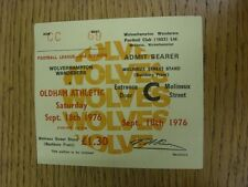 18/09/1976 Ticket: Wolverhampton Wanderers v Oldham Athletic  (Yellow). Thanks f