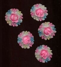 VINTAGE PLASTIC CELLULOID Cabochon FLOWER WREATH Bouquets JAPAN Hand Painted