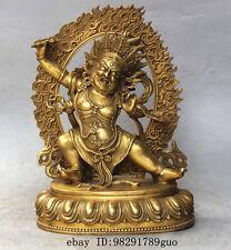 """11""""Chinese Tibetan Buddhism Bronze Vajrapani Chana Dorje Mahakala buddha statue"""