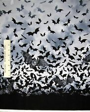 Halloween Fabric - Spooky Bat Gray Black Ombre - Timeless Treasures 20""