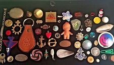 VINTAGE LOT Trinkets Charms Craft Rhinestone Jewelry LOCKET Anchor Doll Buttons