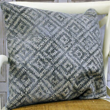 Grey Geometric Traditional Kilim Ethnic Aztec Cushion Cover with Filler 50x50cm