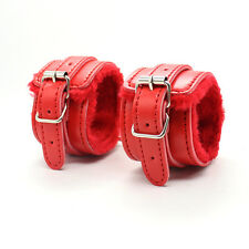 High Quality Red Real Leather Bondage Wrist Cuffs - kinky fetish restraint sexy