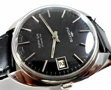 FORTIS HI-FI-MATIC 25J AUTOMATIC DATE BLACK DIAL MENS SWISS WATCH CASE SIZE 34MM