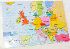 NEW EUROPE MAP 48 PIECE JIGSAW PUZZLE IN FRAME EARLY LEARNING GEOGRAPHY ACK