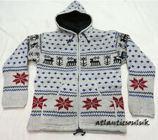 J509 L Fleece lined Hoodie Deer spotted Design winter men multi Jacket Nepal