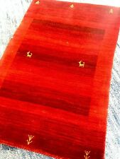 Modern Spectacular Hand Made Area Rug  Red Gabbeh  2'x3' New Nomadic Persian A+
