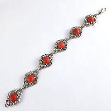 Art Deco 800 pulsera plata + 10 mm coral coral Silver Bracelet coraille