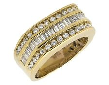 Men's Yellow Gold Sterling Silver 3 Rows Baguette Lab Diamond Wedding Ring Band