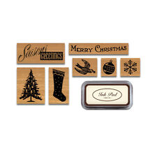 Cavallini - Tin of 7 Rubber Stamps - Christmas Holiday HOL - Black Ink Pad Inc