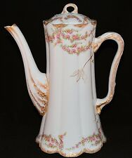 """VERY LARGE 11"""" LIMOGES FRANCE COFFEE POT ROSES SWAGS VINE GOLD 145"""