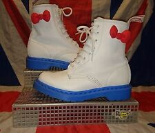 RARE*Sanrio Hello Kitty x Dr Doc Martens*White Blue Red Bows*Kawaii Kitsch*UK 4