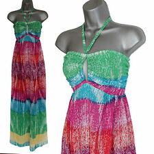 *MONSOON*Pink/Green/Blue Print Hole Neck Halterneck Summer Beach Maxi Dress M