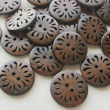 New Brown Pierced Flower Wood Buttons 30mm Sewing Craft 40pcs