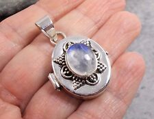 925 Silver RAINBOW MOONSTONE Prayer Box Locket Pendant P414~Silverwave*uk