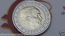 MONACO 2 euro 2001 fdc UNC Principe RANIERI III prince prinz принц