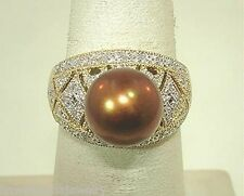 14K YELLOW GOLD 10MM 6.53CT CULTURED FW CHOCOLATE PEARL 0.22CTS DIAMOND RING 7.5