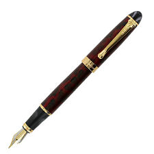 JinHao X450 Dark Red Barrel Gold Trim Fountain Pen, Medium Point