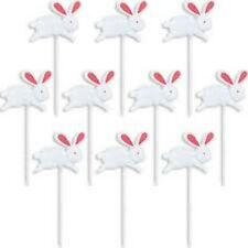 WHITE RABBIT ALICE IN WONDERLAND PARTY BUNNY PICKS 10 CANAPÉ FOOD CUPCAKE FLAGS!