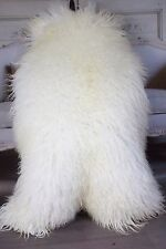 Genuine Natural EXTRA LARGE XXL Mongolian Sheepskin Rug, Pelt, CURLY FUR WHITE