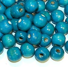 WL744p Turquoise Blue 18mm Round Large Wood Beads 250-Grams