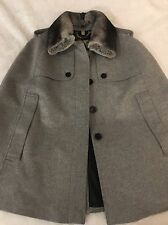 Burberry Prorsum Wolseley Cape Jacket w/Detachable Fur Collar Size S $1995