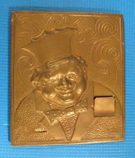 Vintage wall hanging plaque Embossing brass picture bas relief kitchen Cook man