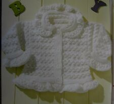 "BABY CARDIGAN/TUNIC/BOBBLE/LACY-FRILL EDGING DOUBLE KNITTING PATTERN 16-24""(2A)"