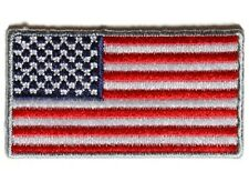 """(G11) 2"""" MINI US FLAG with SILVER Border 2"""" x 1.1"""" iron on patch (4936) Cap Hat"""