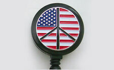 PEACE SIGN FLAG Retractable ID/Security Card Holder/Badge Reel/Key Chain Ring
