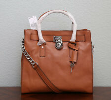 MICHAEL KORS HAMILTON Leather Large N/S Tote 30F91HMT3L SILVER/LUGGAGE BROWN NWT