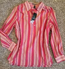 NWT! RALPH LAUREN Button Down Striped Multicolor Shirt Top Blouse 1X $99
